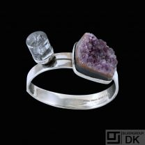 Bent Knudsen. Hinged Silver Bangle with Amethyst and Rutilated Quartz #3133.