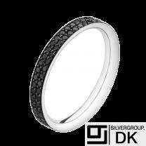 Georg Jensen 18 Ct. White Gold Ring - MAGIC #1513B with Pavé Set go Black Diamonds