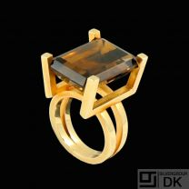Boy Johansen. 14k Gold Cocktail Ring with Faceted Smoke Quartz.