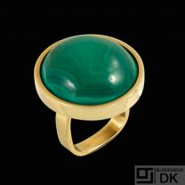 Boy Johansen. 14k Gold Ring with Malachite - 1960s.