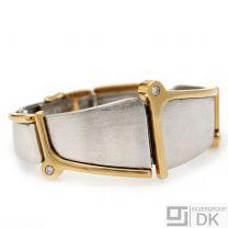 Danish Gold Bangle w/ Diamonds - Ole Lynggaard - VINTAGE