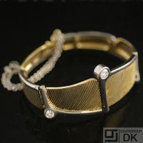 Danish Gold Bracelet w/ Diamonds - Ole Lynggard - Vintage