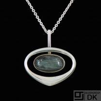 Uni David-Andersen. Sterling Silver Pendant with Labradorite. 1960s