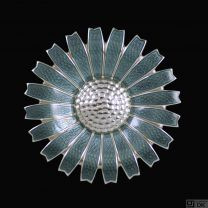Georg Jensen. Sterling Silver Daisy Brooch / Pendant with Enamel. 43mm.