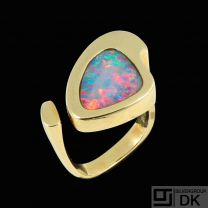 Danish 14k Gold Ring with Opal. 1960s