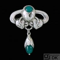 Danish Art Nouveau Silver Brooch with Green Agate.