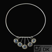 Just Andersen. Sterling Silver Neckring with Lapis Lazuli #822.