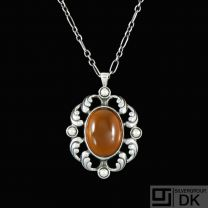 Georg Jensen. Silver Pendant #632 with Smokey Quartz - Limited Edition.