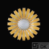 Georg Jensen. Sterling Silver Daisy Brooch with yellow Enamel. 43mm.