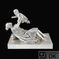 Giacomo Manzu & Karl Gustav Hansen. Large Sterling Sculpture. 12/199. Anno 1977