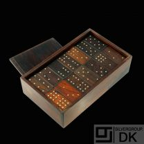 Alfred Klitgaard 1926-2005. Solid Rosewood & Sterling Silver boxed Domino Set - 1960s