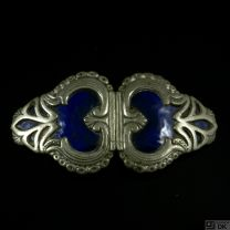 Mogens Ballin 1871-1914. Art Nouveau Pewter Belt Buckle with Enamel.