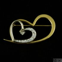 F. Hingelberg. 18k Gold Brooch with Heart Cut Diamonds. 'Heart Crusher'.