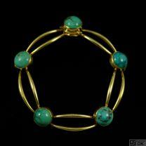 Hans Hansen 14k Vintage Gold Bracelet with Torquise #203