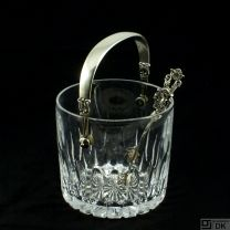 Georg Jensen Ice Bucket #1137 and Tongs - Acorn/ Konge