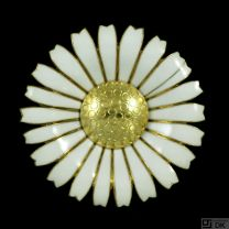 Georg Jensen. Gilded Sterling Silver Daisy Brooch / Pendant with Enamel. 50 mm.