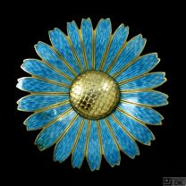 Chr. Rasmussen. Gilded Sterling Silver Brooch with Blue Enamel. 50mm.