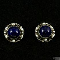 Georg Jensen. Sterling Silver Screw Back Earrings with Lapis Lazuli #39B