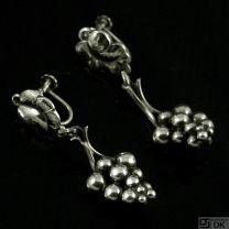 Georg Jensen Sterling Silver Screw Back Grapes Earrings # 40