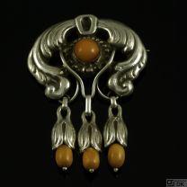 Danish Art Nouveau Silver Brooch with Amber - Hans Nicolajsen Hansen