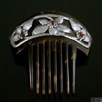 Danish Art Nouveau Silver Hair Comb with Garnets - Fritz S. Heimbürger
