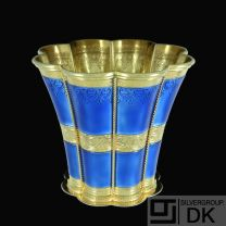 A. Michelsen. Margrethe Cup. Gilded Sterling Silver with Blue Enamel. 1975.