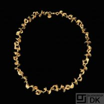 Flora Danica - CPH. Gilded Sterling Silver Necklace.