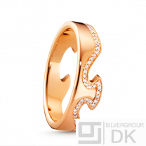 Georg Jensen Fusion End Ring - Rose Gold with Pavé line of Diamonds. #1371
