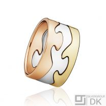 Georg Jensen Fusion Puzzle Ring - 18 kt. Yellow Gold, Rose Gold and White Gold.