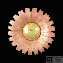 Georg Jensen. Gilded Silver Daisy Brooch / Pendant with Rose Enamel. 50mm