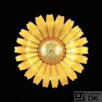 Georg Jensen. Gilded Silver Daisy Brooch / Pendant with Yellow Enamel. 50mm