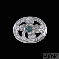 Georg Jensen. Sterling Silver Brooch with Green Agate #138.