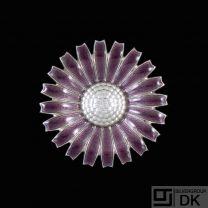 Georg Jensen. Sterling Silver Daisy Brooch / Pendant with Purple Enamel. 43mm.