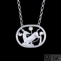 Georg Jensen. Sterling Silver Necklace#95- Arno Malinowski. 1933-44 Hallmarks.