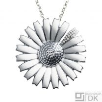 Georg Jensen. Silver White Daisy Pendant / Brooch with Pavé Diamonds 0.21ct.