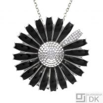 Georg Jensen. Silver Black Daisy Pendant / Brooch with Pavé Diamonds 0.21ct.
