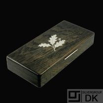 Bog Oak Box with Inlaid Sterling Silver 'Acorn Motif'- Denmark - 1960s