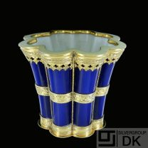 Royal Copenhagen. Margrethe Cup/Vase. Blue Porcelain and Gilded Sterling Silver Mounting. 1951.