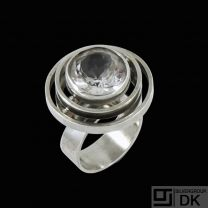 N.E. From. Sterling Silver Ring with Rock Crystal. Denmark - 1960s.