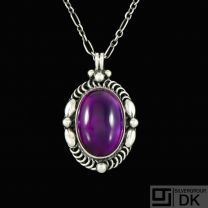 Georg Jensen. Sterling Silver Pendant #581 with Amethyst - Limited Edition.
