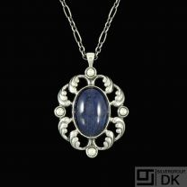 Georg Jensen. Silver Pendant #632 with Sodalite and Rock Crystal - Limited Edition.