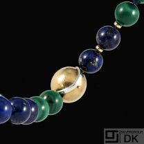 Ole Lynggaard. Bead Necklace with 14k Gold Ball Clasp #12.
