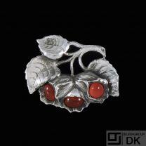 H.N. Hviid & Co. Danish Art nouveau Silver Brooch with Carnelian.