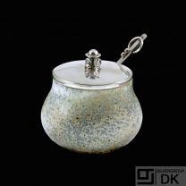 Hans Hansen - Denmark. Stoneware Jar with Sterling Silver Lid.