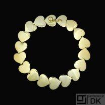 Karl Gustav Hansen for Hans Hansen. 14k Gold Heart Bracelet #271