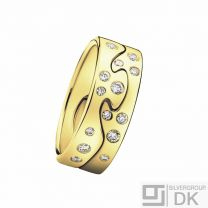 Georg Jensen. Fusion 2-piece Ring - 18k. Yellow Gold with Diamonds.