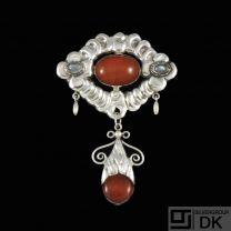 Jensen & Akerlund. Art Nouveau Silver Brooch with Amber & Moonstones.