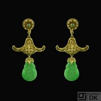 Vintage Gilded Silver Screw-back Earrings with Jade