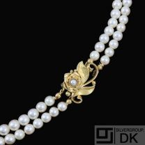 Georg Jensen. Double-Strand Pearl Necklace with 18k Gold Lock #305