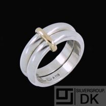 Georg Jensen. Sterling Silver Ring with 18k Gold #A119.